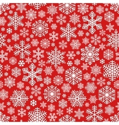 White Snowflakes Pattern on Red Background vector image