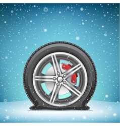 Winter flat tire on snow background vector
