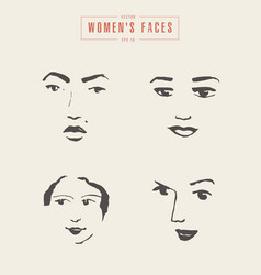women s faces contours paintbrush sketch vector image vector image