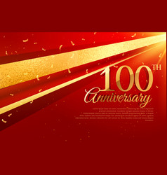100th anniversary celebration card template vector