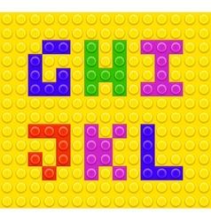 Lego blocks alphabet 2 vector image