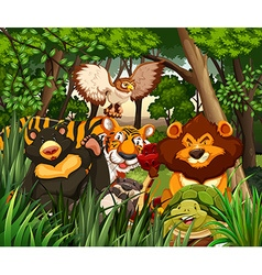 Wild animals living in the jungle vector image