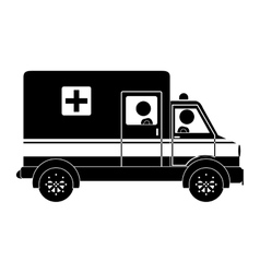 Silhouette ambulance truck with medical symbol vector image