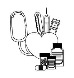 Isolated stethoscope and medicine design vector