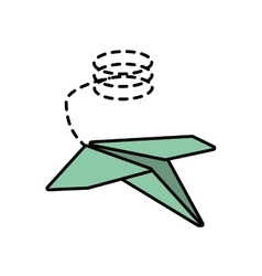 Paper plane freedom play line dotted vector