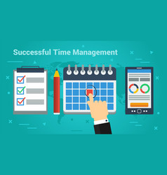 Business banner - successful time management vector