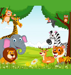 animal cartoon in the jungle vector image