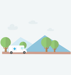 Ambulance rescue to country with nature background vector