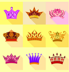 Different crown icons set flat style vector