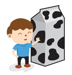 A boy standing with carton of milk vector