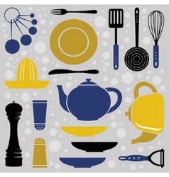 Kitchen collection retro style vector