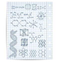 Physics and chemistry on copybook page set vector