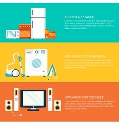 Flat home electronics appliances tehnology vector