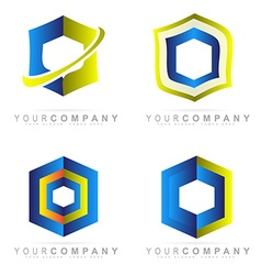 Hexagon corporate logo set vector image