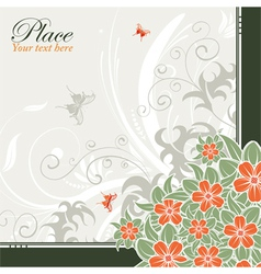 Flower frame with butterflies vector