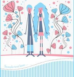 postcard with boy and girl on a walk vector image