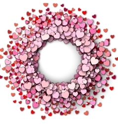 Red hearts round frame vector