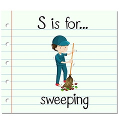 Flashcard letter s is for sweeping vector