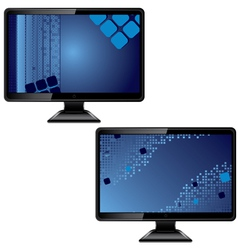 Black monitor with abstract screen vector