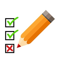 Checklist and pencil checking off tasks white vector
