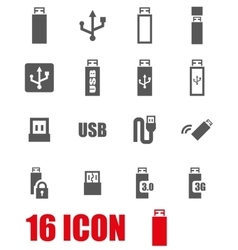 Grey usb icon set vector