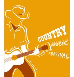 Country music festival poster with musician vector image