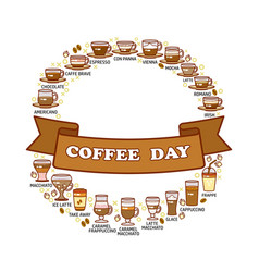 coffee day card set of cute various beverage vector image vector image
