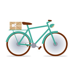 Flat fixed-gear bike with a package vector
