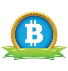 Gold bitcoin logo vector