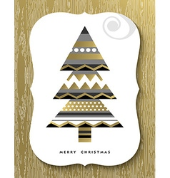 Gold merry christmas pine tree greeting card vector