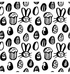 Grunge brush easter seamless pattern vector