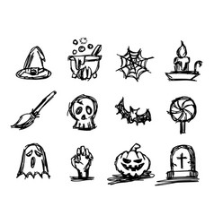 halloween icon set sketch vector image