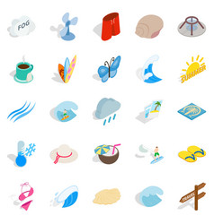 Heat icons set isometric style vector