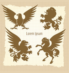heraldic silhouettes vintage poster vector image vector image