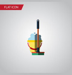 isolated bucket flat icon mop element can vector image vector image