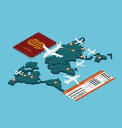 isometric air travel transportation vector image