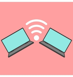 Laptops with wi-fi icon vector
