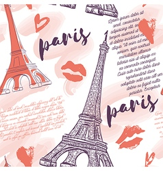paris pattern with eiffel tower kisses hearts vector image vector image