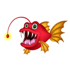Red monster fish cartoon vector