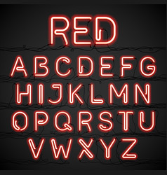 red neon light alphabet with cable vector image vector image
