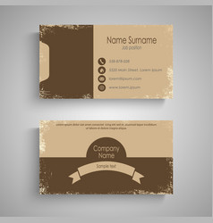 Retro business card in brown design template vector