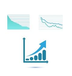Set of three growth charts vector image vector image