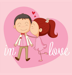 velentine card template with girl kissing boy vector image vector image