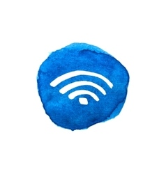 Wireless network symbol on bright blue watercolor vector image vector image