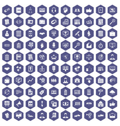 100 business training icons hexagon purple vector
