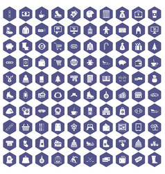 100 winter shopping icons hexagon purple vector