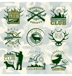 Hunting emblem set in color vector