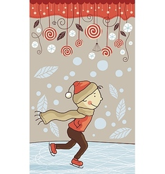 Ice skating kid vector