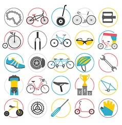 Bicycle icon set bike types flat design vector