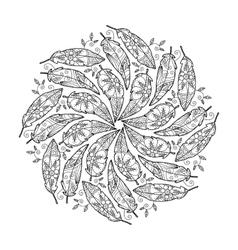 Vintage feather mandala vector